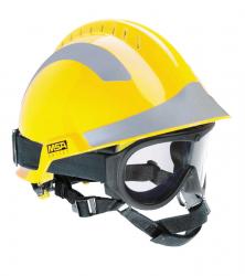MSA F2 X-TREM helm geel met bril